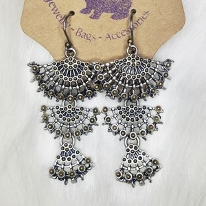 Jewelry - Silver Fan Statement Earrings